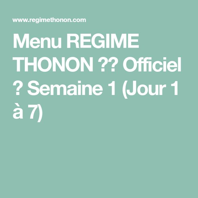 Regime thonon version imprimable