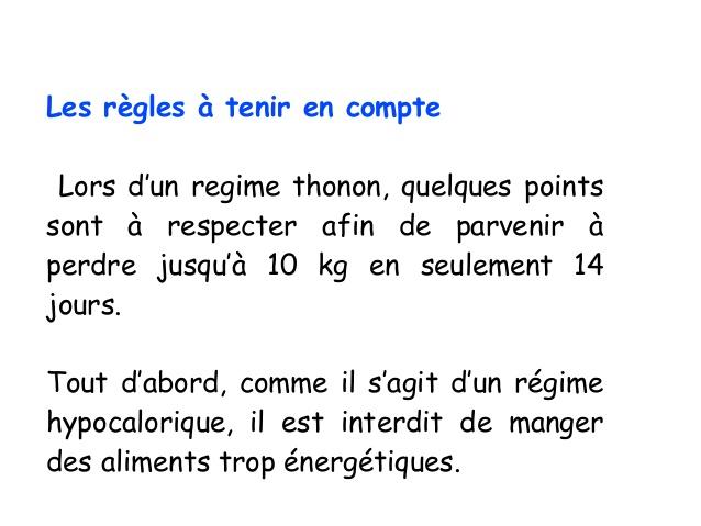 Regime thonon menu 5 jours